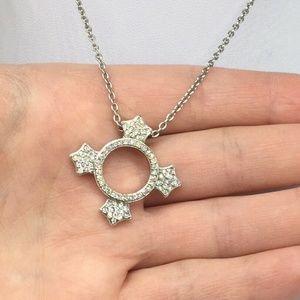 Swarovski Jewelry - Swarovski Clear Crystal Maltese Cross Necklace